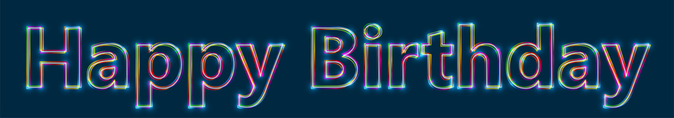 Happy Birthday - Colorful multi-layered outline text with glowing light effect on blue background.
