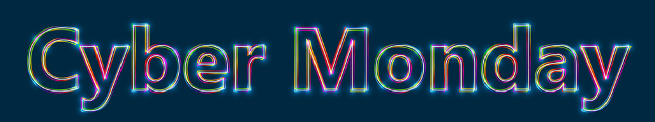 Cyber Monday - Colorful multi-layered outline text with glowing light effect on blue background.