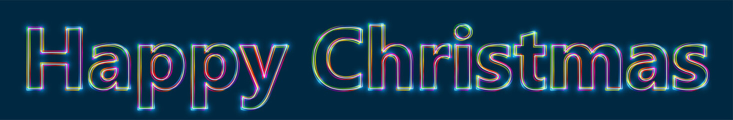 Happy Christmas - Colorful multi-layered outline text with glowing light effect on blue background.