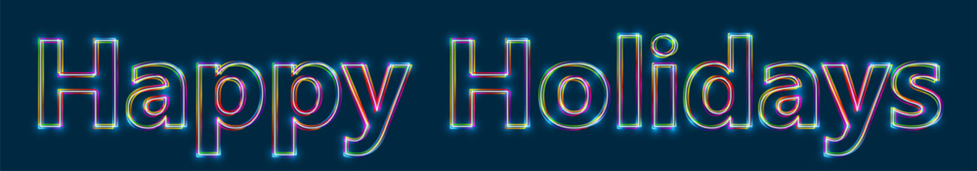 Happy Holidays - Colorful multi-layered outline text with glowing light effect on blue background.