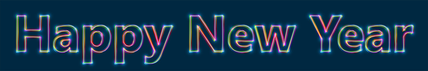 Happy New Year - Colorful multi-layered outline text with glowing light effect on blue background.