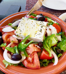 Portion of traditional greek salad