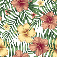 Golden burgundy hibiscus plumeria leaves seamless white background
