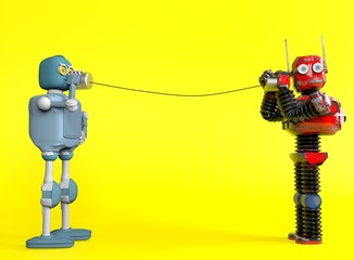 Retro two robots with tin can phones. 3d render