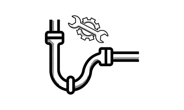 Plumbing, pipe replacement, repair drain pipe line icon. - Vector