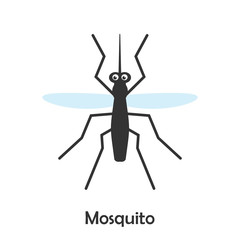 Mosquito in cartoon style, insect card for kid, preschool activity for children, vector illustration