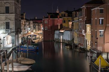 I canali di Chioggia (Venezia) notturno
