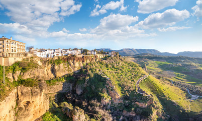 Ronda, Spain old town summer cityscape on the Tajo Gorge.