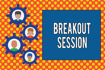 Text sign showing Breakout Session. Business photo showcasing workshop discussion or presentation on specific topic Gearshaped picture frame family ornament mother father daughter son photo