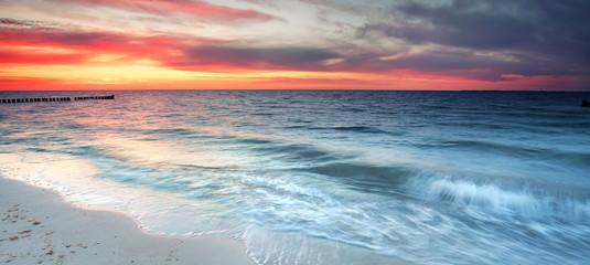 Abendrot an der Küste