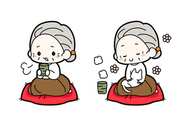 縁側でお茶を飲むおばあちゃん・猫飼ってるおばあちゃん・うたたねおばあちゃんのイラスト