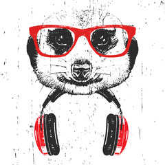 Portrait of Meerkat with glasses and headphones. Hand-drawn illustration. T-shirt design. Vector