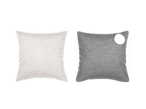 Gray and beige pillows on the white background.
