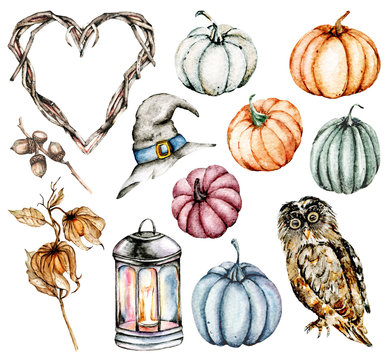 Halloween illustrations. Watercolor set with pumpkins, flowers, frame heart perfect for Halloween party invite, card, background, poster. Isolated on white, hand drawn.