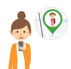 若い女性 スマホ GPS
