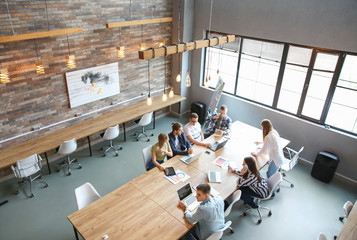 Young people having business meeting in modern office Wall mural