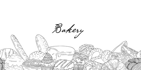 Seamless border of elements with hand drawn bakery products on a white background