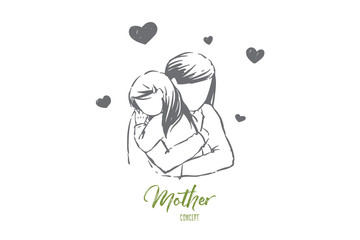 Mom hugs daughter, young woman and little girl embrace, faceless parent, happy motherhood, mother day