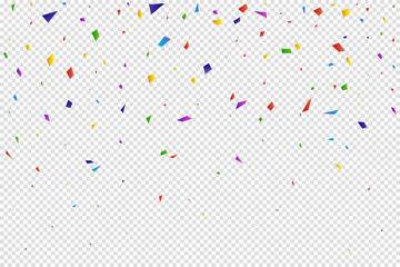 Colorful confetti on a transparent background. Vector illustration.