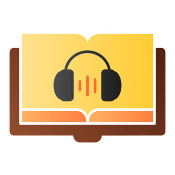 Audio book flat icon. Audio guide color icons in trendy flat style. Headphones and book gradient style design, designed for web and app. Eps 10.