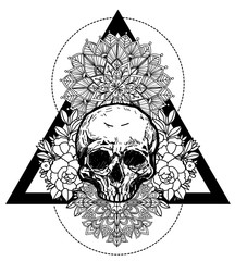 Tattoo art skull and flower hand drawing and sketch black and white with line art illustration isolated on white background.