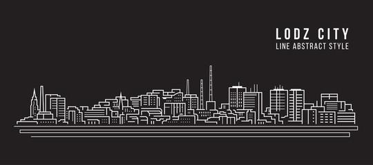 Cityscape Building Line art Vector Illustration design - Lodz city