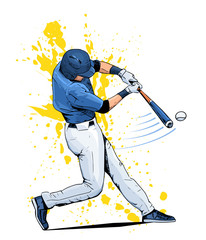Vector illustration of a baseball player hitting the ball. Beautiful sport themed poster. Abstract background, summer sports, team game