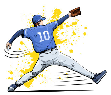 Vector illustration of a baseball player throwing the ball. Beautiful sport themed poster. Abstract background, summer sports, team game, baseball pitcher