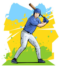 Vector illustration of a baseball player standing with the baseball bat. Beautiful sport themed poster. Team game, summer sports, baseball batter