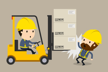 Collision during forklift operation, Vector illustration, Safety and accident, Industrial safety cartoon