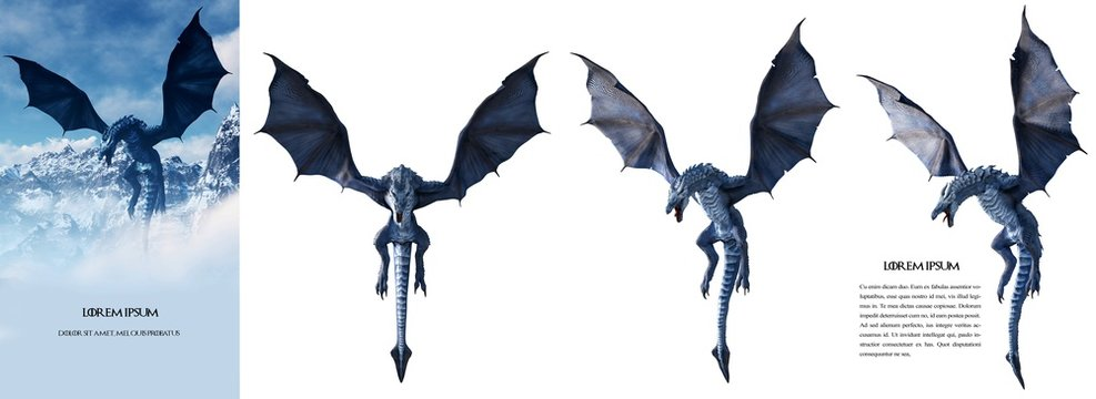 Ultra high-resolution (100 Mpx) Ice dragon 3D rendered. Change the background and make your own poster easily, like the left sample image. Just use the magic wand tool using 10 for the tolerance.