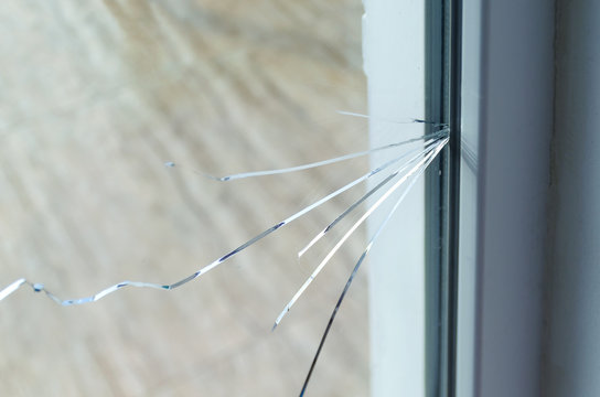 Crack on the glass at a residential house