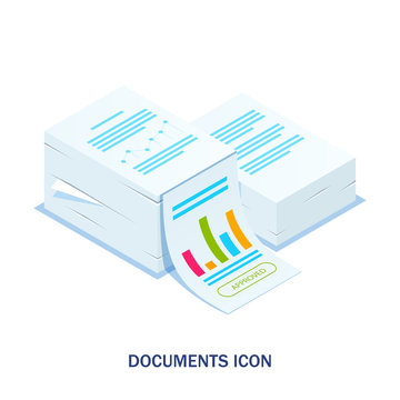 Isometric stack of documents with an approved stamp. Can use for web banner, infographics, hero images. Flat isometric illustration.