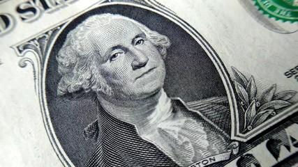 Image George Washington for 1 dollar bill. Macro view.