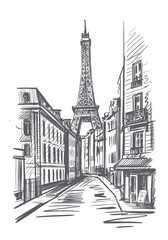 Fotobehang Illustratie Parijs Eiffel tower on a street in Paris sketch