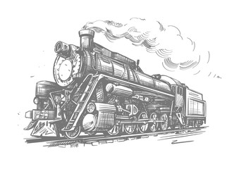 Steam locomotive transport. Hand drawn vector illustration