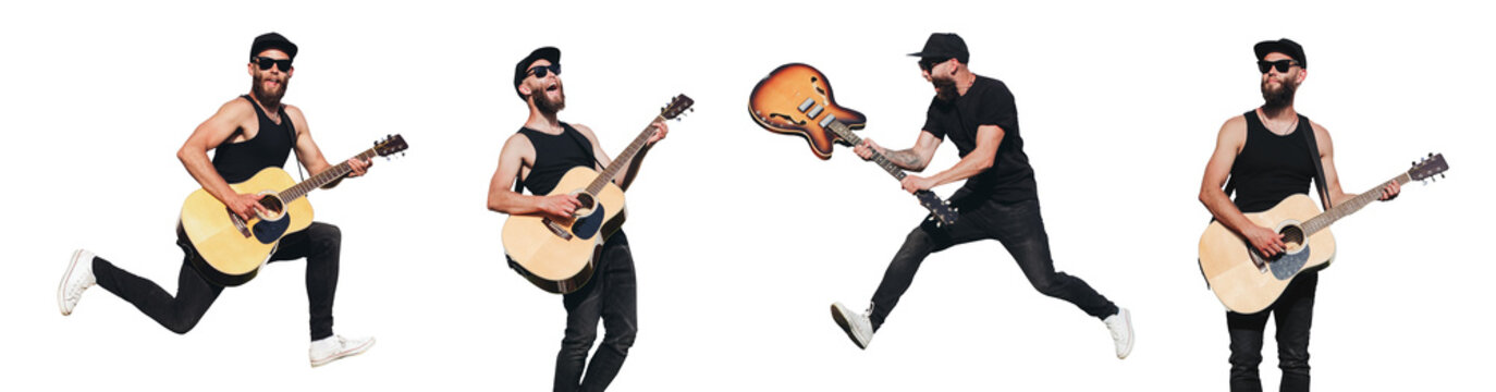 Guitar player isolated over white background. He is singing, screaming and jumping. Hipster guitar player with beard and black clothes