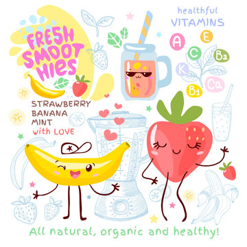 Fresh smoothie recipe cute kawaii characters. Fruits ingredients glass jar vitamin funny style. Strawberry banana smoothies berries leaves mint. Hand drawn vector illustration.