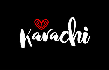 Karachi city on black background with red heart for logo icon design Fototapete