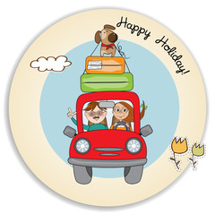 happy couple with their dog traveling with funny red car. Summer holiday poster