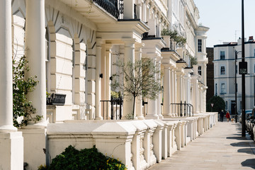 Residential townhouses and pedestrian walkway in Notting Hill London