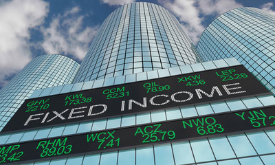Fixed Income Funds Stock Market Industry Sector Wall Street Buildings 3d Illustration