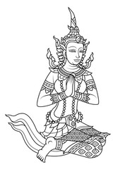 line vector traditional Thailand female angel put your hands together in a prayer position