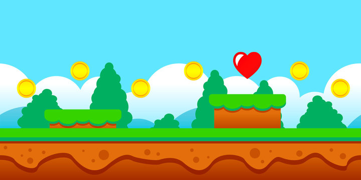Vector illustration seamless game scene with coins and heart