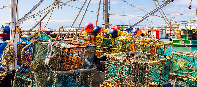 Crayfish nets and traps on a small fishing boat