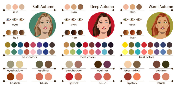 Stock vector seasonal color analysis palette for soft, deep and warm autumn. Best colors for autumn type of female appearance. Face of young woman.