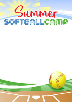 Summer Softball Camp. Template poster with realistic softball ball. Place for your text message. Vector illustration.
