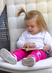 Baby Girl. Read Book. Cute. Child. Face