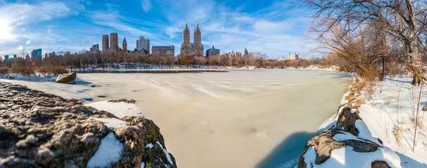 Winter in Central Park, New York, United States.