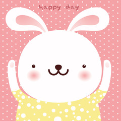 Cute white Rabbit cartoon character, Easter greeting card, vector